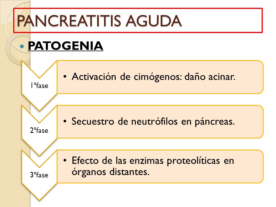PANCREATITIS AGUDA PATOGENIA 1ªfase Activación de cimógenos: daño acinar. 2ªfase Secuestro de neutrófilos en páncreas. 3ªfase Efecto de las enzimas pr