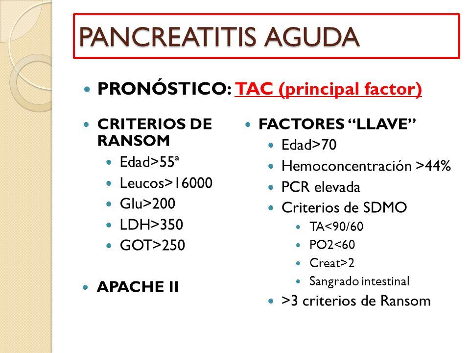 CRITERIOS DE RANSOM Edad>55ª Leucos>16000 Glu>200 LDH>350 GOT>250 APACHE II FACTORES LLAVE Edad>70 Hemoconcentración >44% PCR elevada Criterios de SDM