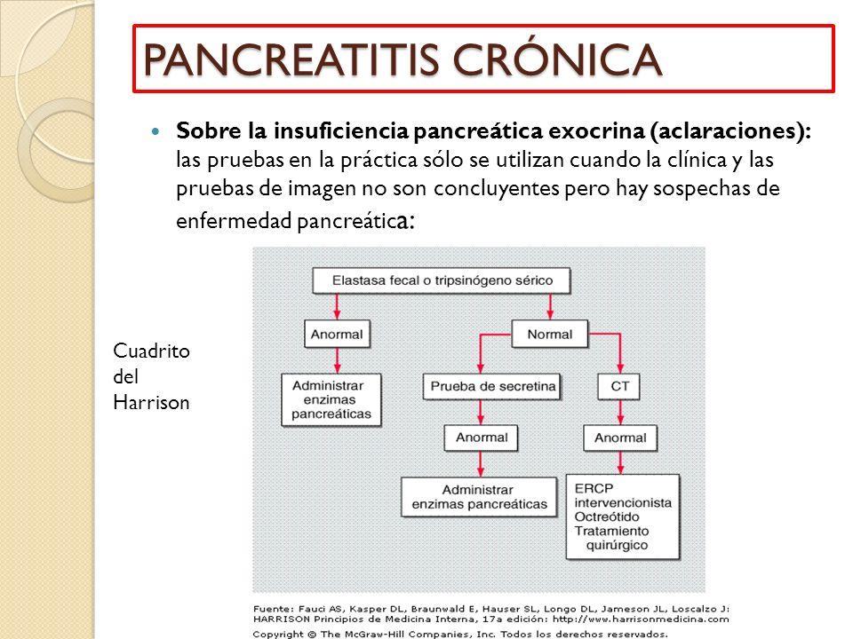 Sobre la insuficiencia pancreática exocrina (aclaraciones): las pruebas en la práctica sólo se utilizan cuando la clínica y las pruebas de imagen no s