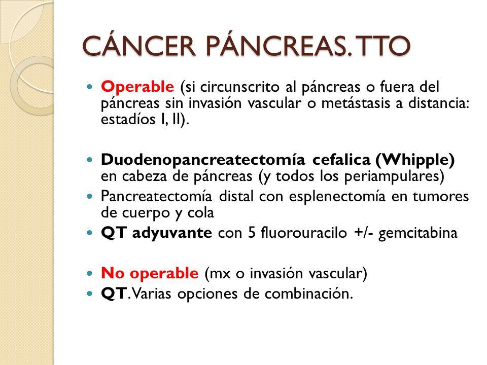 Operable (si circunscrito al páncreas o fuera del páncreas sin invasión vascular o metástasis a distancia: estadíos I, II). Duodenopancreatectomía cef
