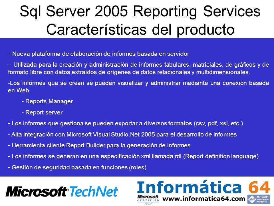 Microsoft Sql Server 2005 - Nueva plataforma de servidor de base de datos de Microsoft (Yukon) - Incluye una plataforma completa e integrada de Business Intelligence - Analysis Services (Gestión de Cubos) - Integration Services (Herramienta ETL) - Reporting Services (Generación de Informes) - Tiene el CLR integrado por lo que: Gestiona proyectos con Visual Studio.Net 2005 de tipo reporting Services proyect - Administración de informes mediante Sql Management Studio - Configuración de reporting mediante Reporting Services Configuration - Gestión de servicios mediante Sql Configuration Manager - Report Server - Analysis Server - Integration Server