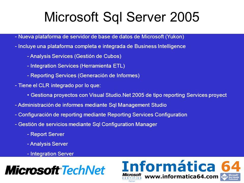 Microsoft Sql Server 2005 - Nueva plataforma de servidor de base de datos de Microsoft (Yukon) - Incluye una plataforma completa e integrada de Busine