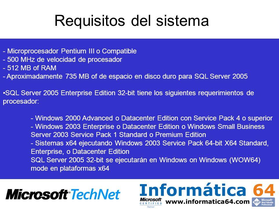 Requisitos del sistema - Microprocesador Pentium III o Compatible - 500 MHz de velocidad de procesador - 512 MB of RAM - Aproximadamente 735 MB of de