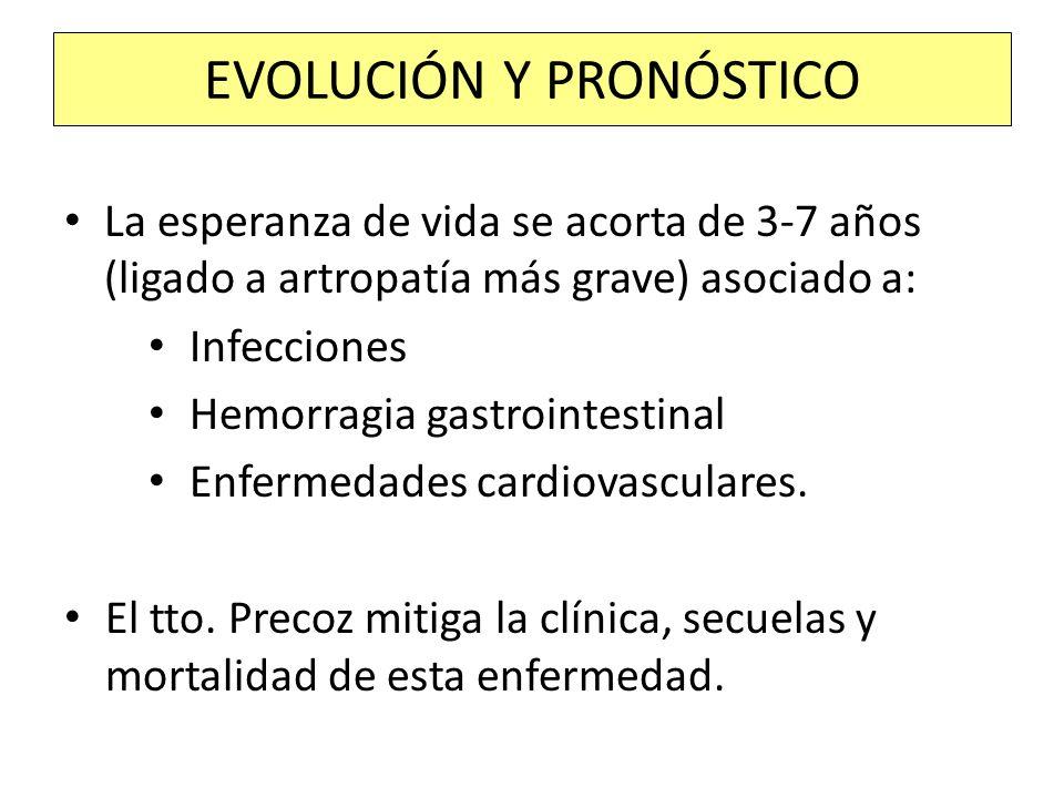 La esperanza de vida se acorta de 3-7 años (ligado a artropatía más grave) asociado a: Infecciones Hemorragia gastrointestinal Enfermedades cardiovasc