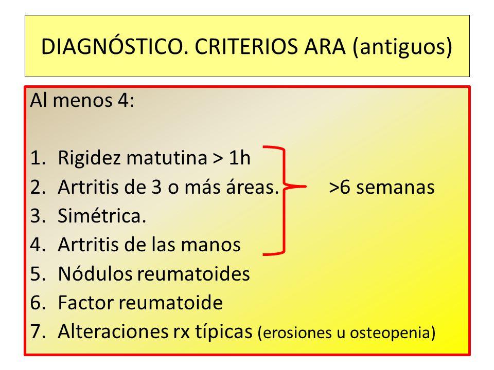 Al menos 4: 1.Rigidez matutina > 1h 2.Artritis de 3 o más áreas. >6 semanas 3.Simétrica. 4.Artritis de las manos 5.Nódulos reumatoides 6.Factor reumat