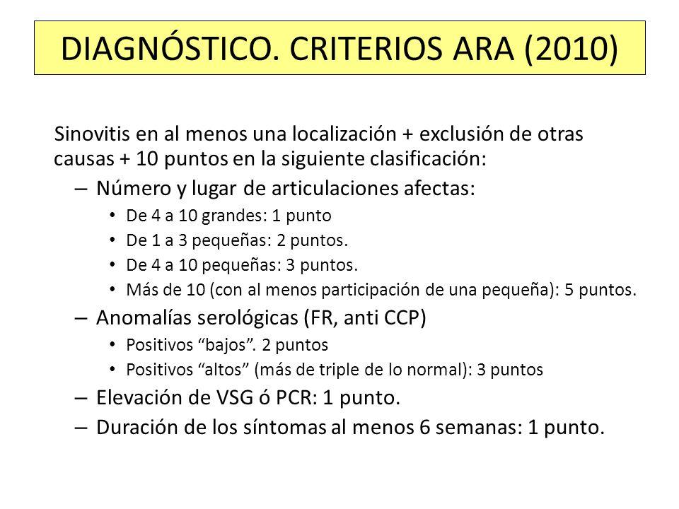 Sinovitis en al menos una localización + exclusión de otras causas + 10 puntos en la siguiente clasificación: – Número y lugar de articulaciones afect
