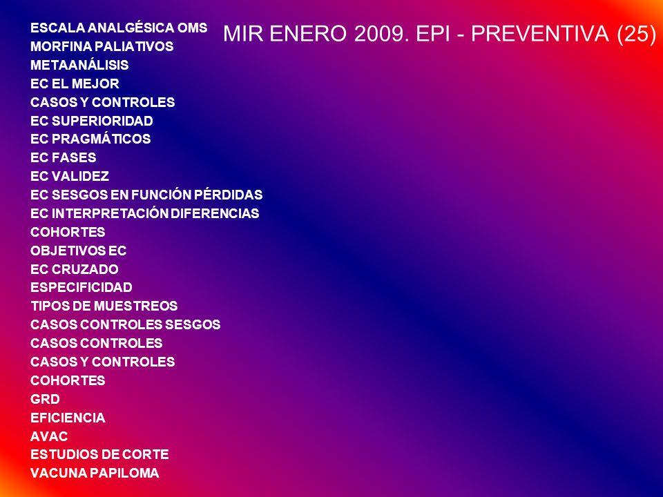 RESUMEN (25/EXAMEN) ENSAYO CLÍNICO (11 PREG/EXAMEN) ESTUDIOS EPI (5/EXAMEN) PALIATIVOS (2/EXAMEN) NNT – RR (1-2/EXAMEN) VALIDEZ PRUEBAS DGTAS (1-2/EXAMEN) ECONOMÍA – AVAC (2/EXAMEN) VACUNAS (1/EXAMEN) OTRAS (1/EXAMEN) (BIOÉTICA, CMBD, GRD)