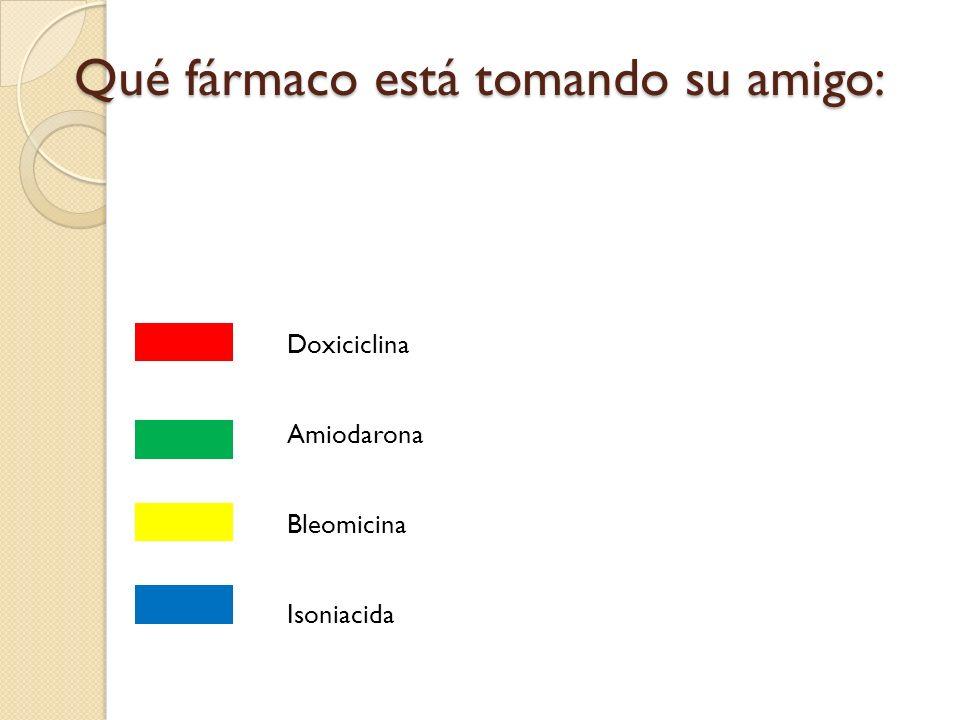 Qué fármaco está tomando su amigo: Doxiciclina Amiodarona Bleomicina Isoniacida