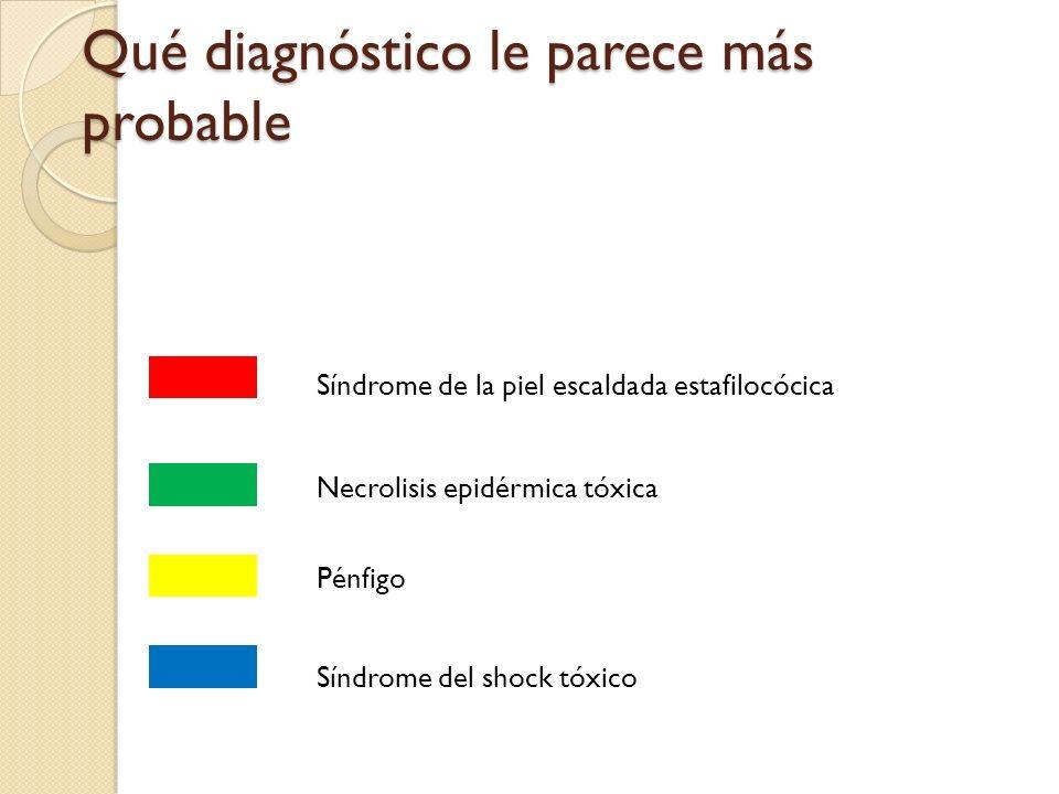 Qué diagnóstico le parece más probable Síndrome de la piel escaldada estafilocócica Necrolisis epidérmica tóxica Pénfigo Síndrome del shock tóxico