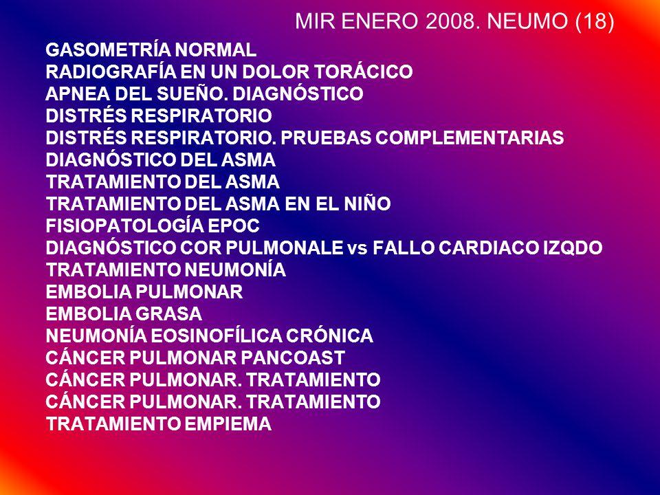 MIR ENERO 2008. NEUMO (18) GASOMETRÍA NORMAL RADIOGRAFÍA EN UN DOLOR TORÁCICO APNEA DEL SUEÑO. DIAGNÓSTICO DISTRÉS RESPIRATORIO DISTRÉS RESPIRATORIO.