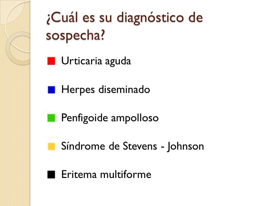 ¿Cuál es su diagnóstico de sospecha? Urticaria aguda Herpes diseminado Penfigoide ampolloso Síndrome de Stevens - Johnson Eritema multiforme