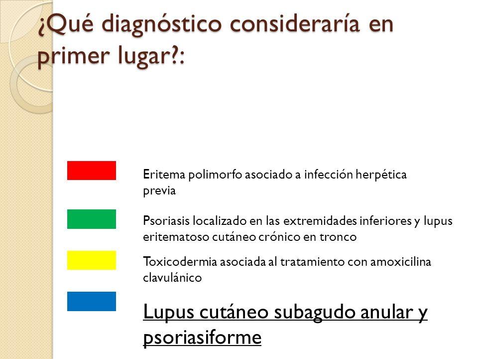 ¿Qué diagnóstico consideraría en primer lugar?: Eritema polimorfo asociado a infección herpética previa Psoriasis localizado en las extremidades infer