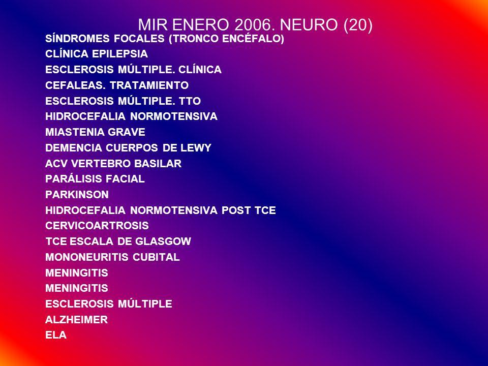 MIR ENERO 2006. NEURO (20) SÍNDROMES FOCALES (TRONCO ENCÉFALO) CLÍNICA EPILEPSIA ESCLEROSIS MÚLTIPLE. CLÍNICA CEFALEAS. TRATAMIENTO ESCLEROSIS MÚLTIPL