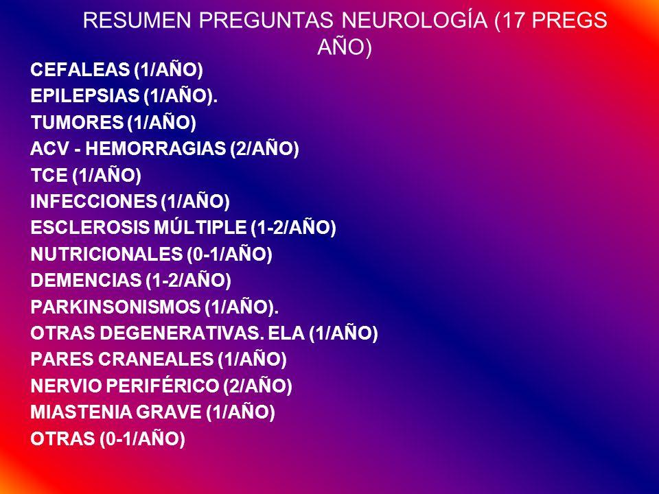 RESUMEN PREGUNTAS NEUROLOGÍA (17 PREGS AÑO) CEFALEAS (1/AÑO) EPILEPSIAS (1/AÑO). TUMORES (1/AÑO) ACV - HEMORRAGIAS (2/AÑO) TCE (1/AÑO) INFECCIONES (1/