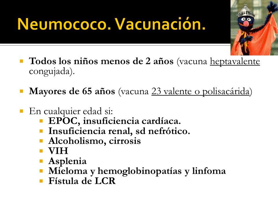 Todos los niños menos de 2 años (vacuna heptavalente congujada). Mayores de 65 años (vacuna 23 valente o polisacárida) En cualquier edad si: EPOC, ins