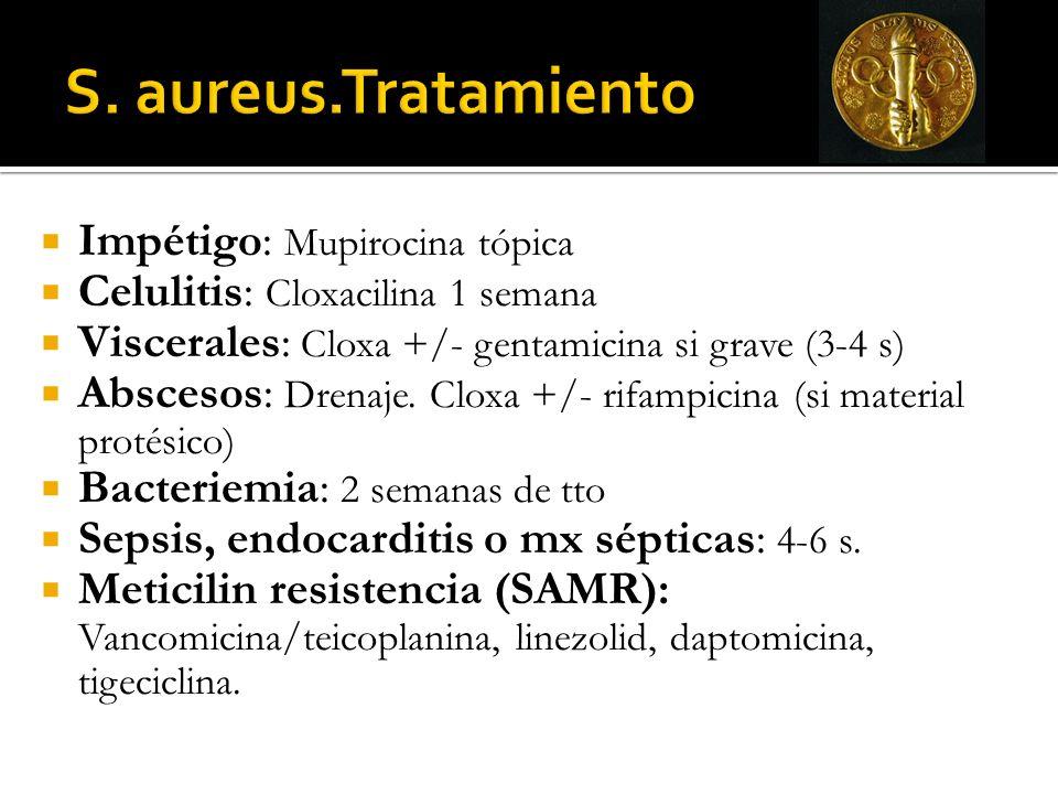 Impétigo: Mupirocina tópica Celulitis: Cloxacilina 1 semana Viscerales: Cloxa +/- gentamicina si grave (3-4 s) Abscesos: Drenaje. Cloxa +/- rifampicin