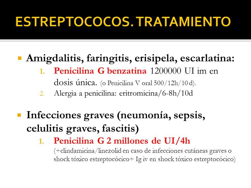 Amigdalitis, faringitis, erisipela, escarlatina: 1. Penicilina G benzatina 1200000 UI im en dosis única. (o Penicilina V oral 500/12h/10 d). 2. Alergi