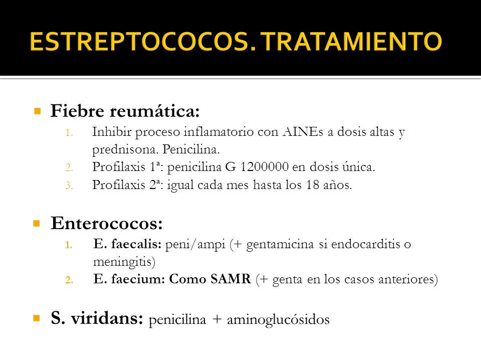 Fiebre reumática: 1. Inhibir proceso inflamatorio con AINEs a dosis altas y prednisona. Penicilina. 2. Profilaxis 1ª: penicilina G 1200000 en dosis ún
