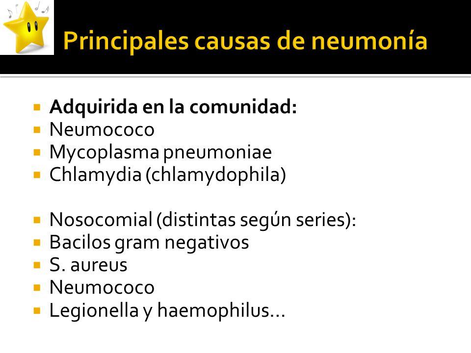 Adquirida en la comunidad: Neumococo Mycoplasma pneumoniae Chlamydia (chlamydophila) Nosocomial (distintas según series): Bacilos gram negativos S. au
