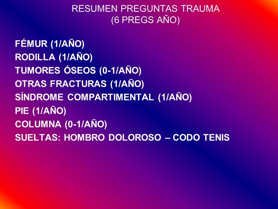 RESUMEN PREGUNTAS TRAUMA (6 PREGS AÑO) FÉMUR (1/AÑO) RODILLA (1/AÑO) TUMORES ÓSEOS (0-1/AÑO) OTRAS FRACTURAS (1/AÑO) SÍNDROME COMPARTIMENTAL (1/AÑO) P