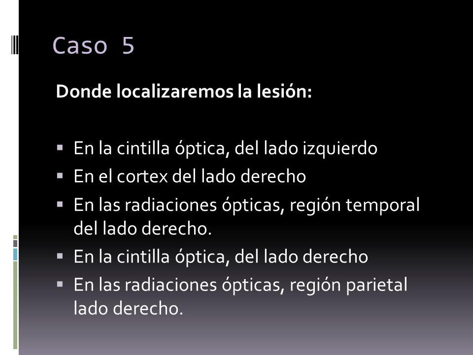 Caso 5 Donde localizaremos la lesión: En la cintilla óptica, del lado izquierdo En el cortex del lado derecho En las radiaciones ópticas, región tempo
