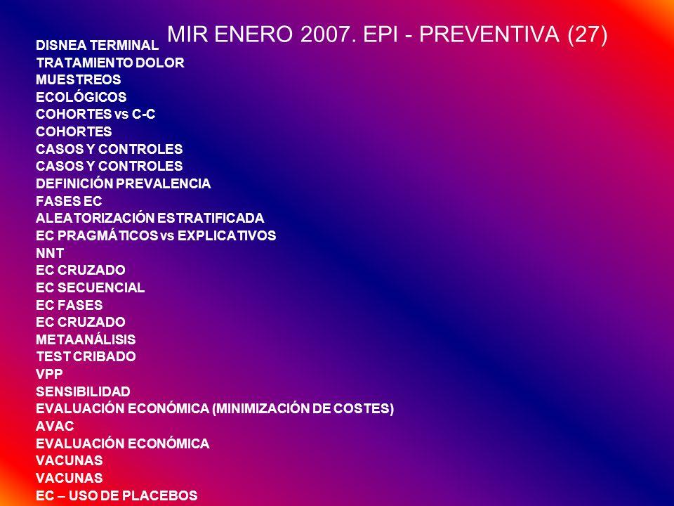 MIR ENERO 2007. EPI - PREVENTIVA (27) DISNEA TERMINAL TRATAMIENTO DOLOR MUESTREOS ECOLÓGICOS COHORTES vs C-C COHORTES CASOS Y CONTROLES DEFINICIÓN PRE