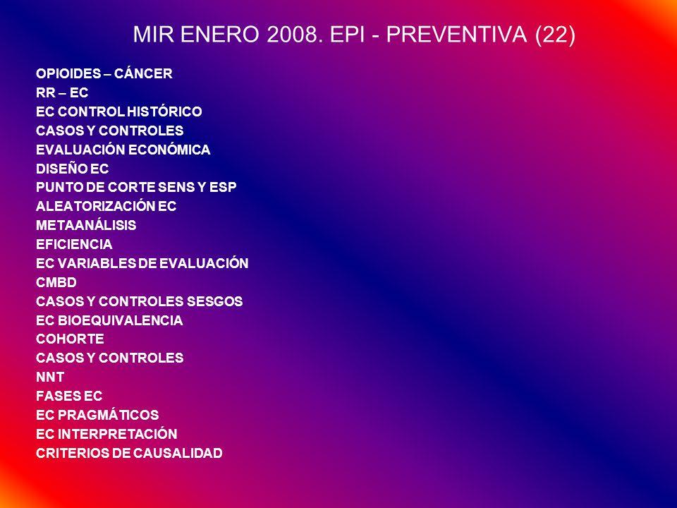 MIR ENERO 2008. EPI - PREVENTIVA (22) OPIOIDES – CÁNCER RR – EC EC CONTROL HISTÓRICO CASOS Y CONTROLES EVALUACIÓN ECONÓMICA DISEÑO EC PUNTO DE CORTE S