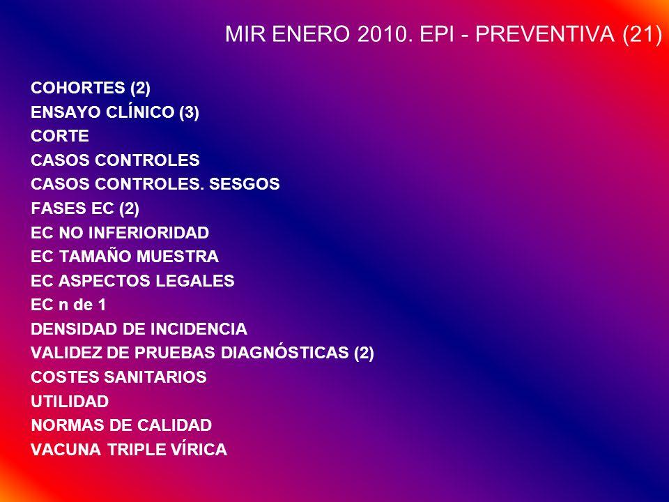 MIR ENERO 2010. EPI - PREVENTIVA (21) COHORTES (2) ENSAYO CLÍNICO (3) CORTE CASOS CONTROLES CASOS CONTROLES. SESGOS FASES EC (2) EC NO INFERIORIDAD EC