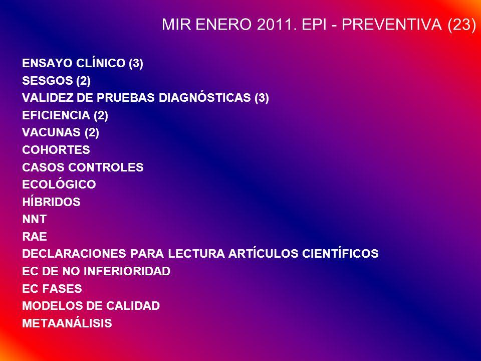 MIR ENERO 2011. EPI - PREVENTIVA (23) ENSAYO CLÍNICO (3) SESGOS (2) VALIDEZ DE PRUEBAS DIAGNÓSTICAS (3) EFICIENCIA (2) VACUNAS (2) COHORTES CASOS CONT