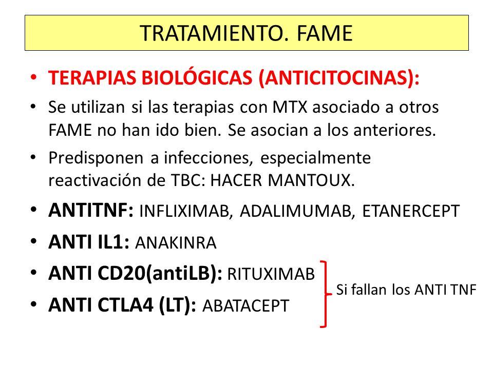 TERAPIAS BIOLÓGICAS (ANTICITOCINAS): Se utilizan si las terapias con MTX asociado a otros FAME no han ido bien. Se asocian a los anteriores. Predispon