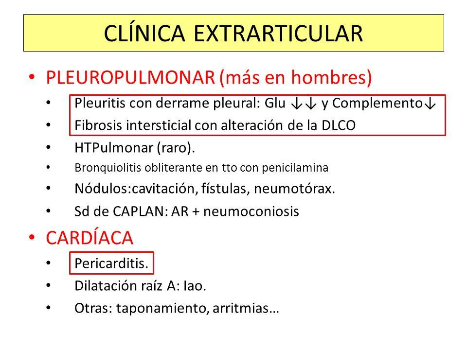 PLEUROPULMONAR (más en hombres) Pleuritis con derrame pleural: Glu y Complemento Fibrosis intersticial con alteración de la DLCO HTPulmonar (raro). Br