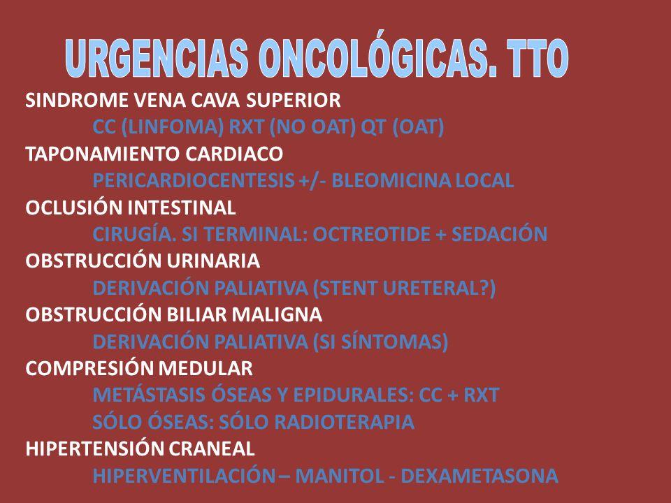 SINDROME VENA CAVA SUPERIOR CC (LINFOMA) RXT (NO OAT) QT (OAT) TAPONAMIENTO CARDIACO PERICARDIOCENTESIS +/- BLEOMICINA LOCAL OCLUSIÓN INTESTINAL CIRUG