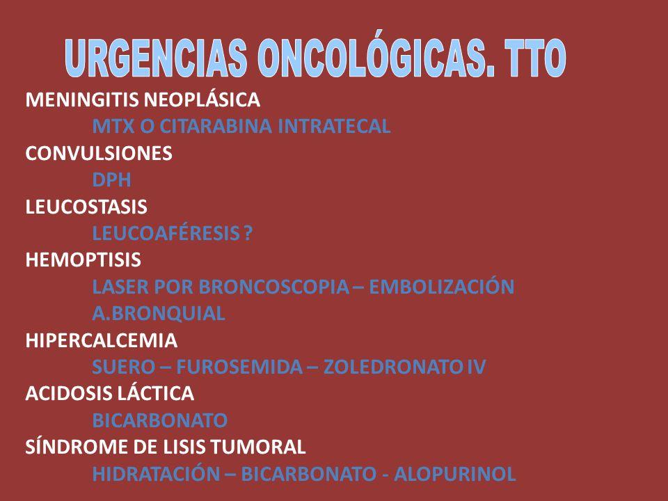 MENINGITIS NEOPLÁSICA MTX O CITARABINA INTRATECAL CONVULSIONES DPH LEUCOSTASIS LEUCOAFÉRESIS ? HEMOPTISIS LASER POR BRONCOSCOPIA – EMBOLIZACIÓN A.BRON