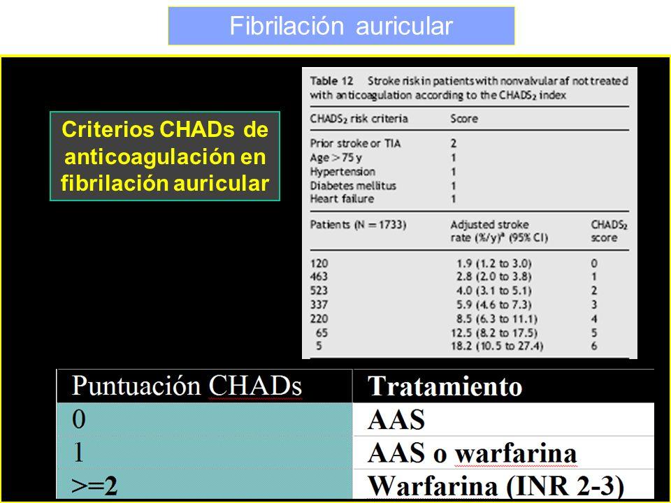Fibrilación auricular Criterios CHADs de anticoagulación en fibrilación auricular