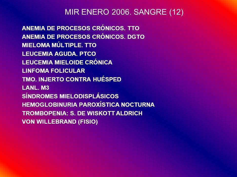 MIR ENERO 2006. SANGRE (12) ANEMIA DE PROCESOS CRÓNICOS. TTO ANEMIA DE PROCESOS CRÓNICOS. DGTO MIELOMA MÚLTIPLE. TTO LEUCEMIA AGUDA. PTCO LEUCEMIA MIE