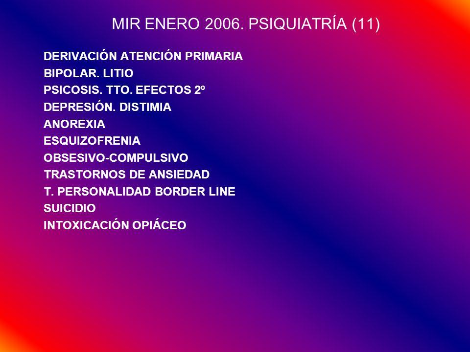 MIR ENERO 2006. PSIQUIATRÍA (11) DERIVACIÓN ATENCIÓN PRIMARIA BIPOLAR. LITIO PSICOSIS. TTO. EFECTOS 2º DEPRESIÓN. DISTIMIA ANOREXIA ESQUIZOFRENIA OBSE
