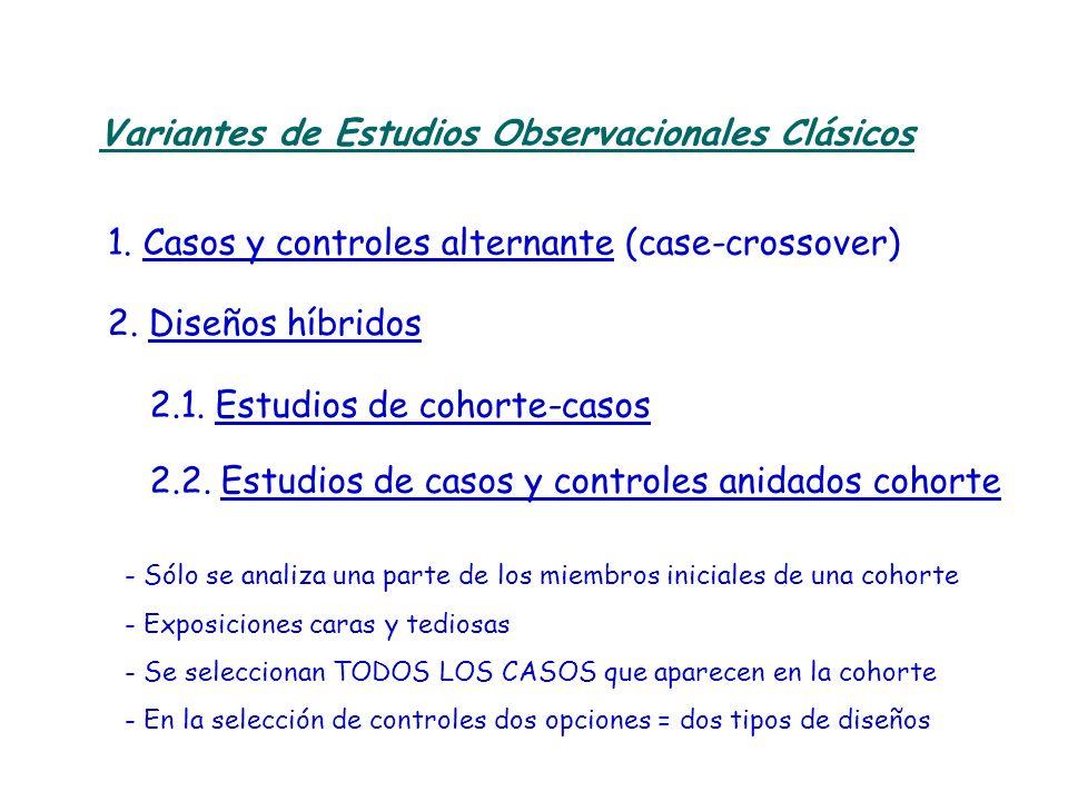 Variantes de Estudios Observacionales Clásicos 1. Casos y controles alternante (case-crossover) - Sólo se analiza una parte de los miembros iniciales