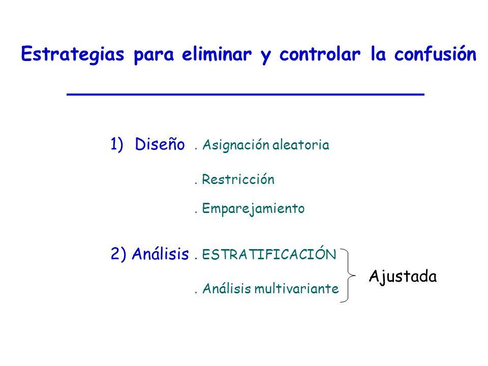 Estrategias para eliminar y controlar la confusión 1)Diseño. Asignación aleatoria. Restricción. Emparejamiento 2) Análisis. ESTRATIFICACIÓN. Análisis