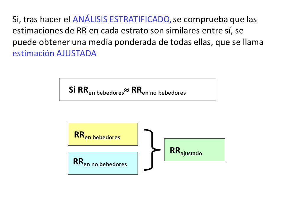 Si, tras hacer el ANÁLISIS ESTRATIFICADO, se comprueba que las estimaciones de RR en cada estrato son similares entre sí, se puede obtener una media p