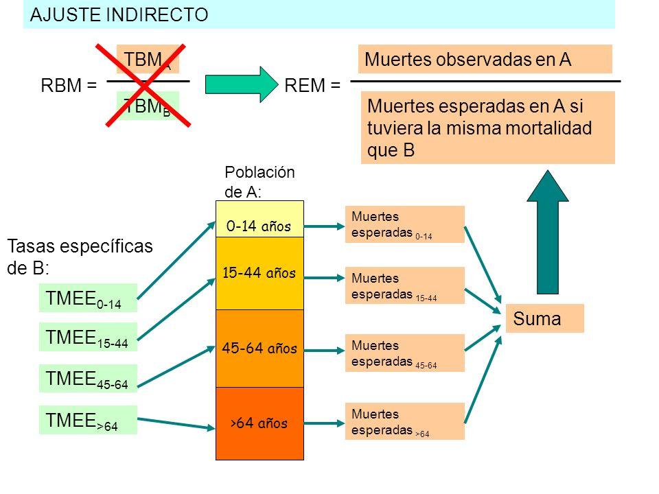 AJUSTE INDIRECTO TBM A TBM B RBM = Muertes observadas en A Muertes esperadas en A si tuviera la misma mortalidad que B REM = 0-14 años 45-64 años >64