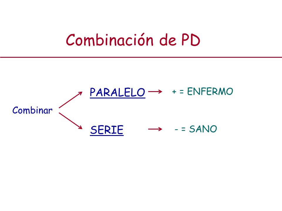 Combinación de PD PARALELO SERIE + = ENFERMO - = SANO Combinar