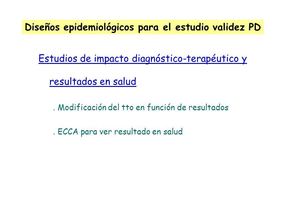 Diseños epidemiológicos para el estudio validez PD Estudios de impacto diagnóstico-terapéutico y resultados en salud. Modificación del tto en función