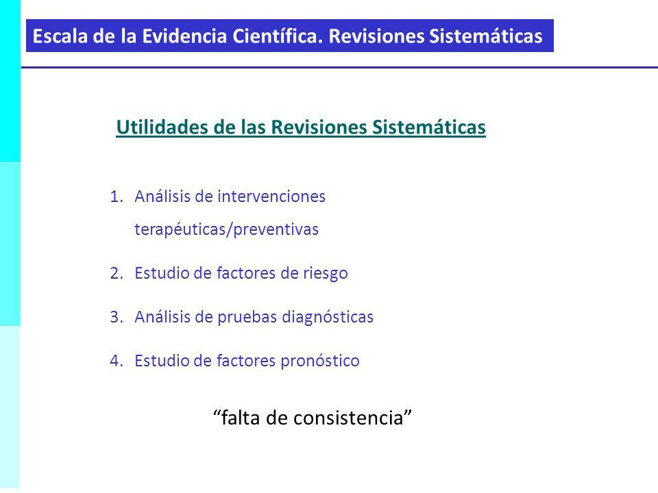 1.Análisis de intervenciones terapéuticas/preventivas 2.Estudio de factores de riesgo 3.Análisis de pruebas diagnósticas 4.Estudio de factores pronóst