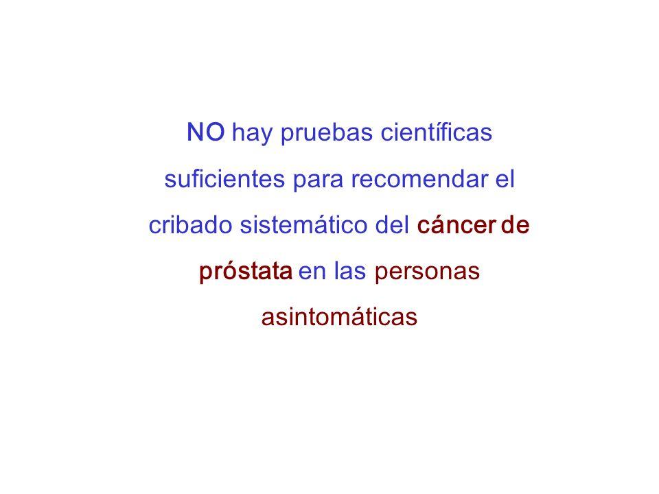NO hay pruebas científicas suficientes para recomendar el cribado sistemático del cáncer de próstata en las personas asintomáticas