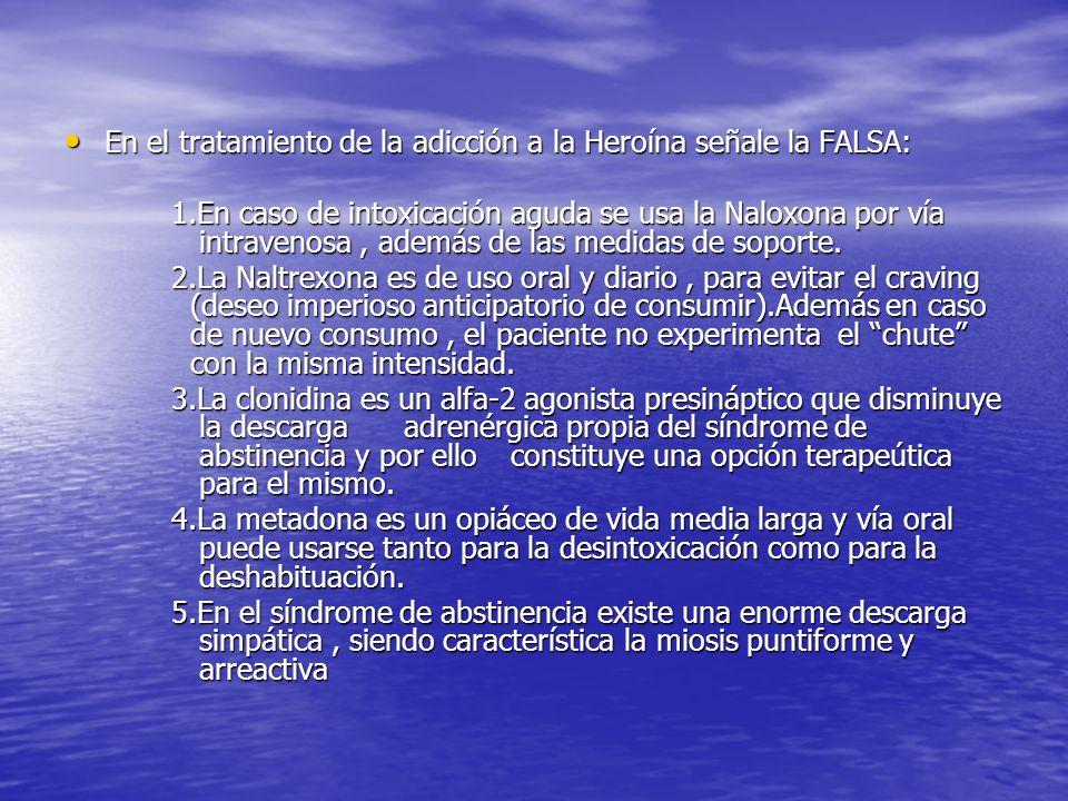 En el tratamiento de la adicción a la Heroína señale la FALSA: En el tratamiento de la adicción a la Heroína señale la FALSA: 1.En caso de intoxicació