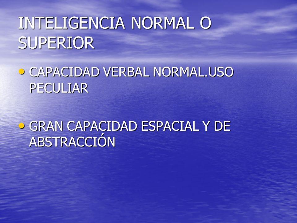 INTELIGENCIA NORMAL O SUPERIOR CAPACIDAD VERBAL NORMAL.USO PECULIAR CAPACIDAD VERBAL NORMAL.USO PECULIAR GRAN CAPACIDAD ESPACIAL Y DE ABSTRACCIÓN GRAN