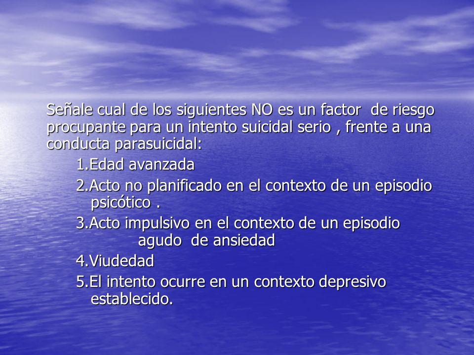 Señale cual de los siguientes NO es un factor de riesgo procupante para un intento suicidal serio, frente a una conducta parasuicidal: 1.Edad avanzada