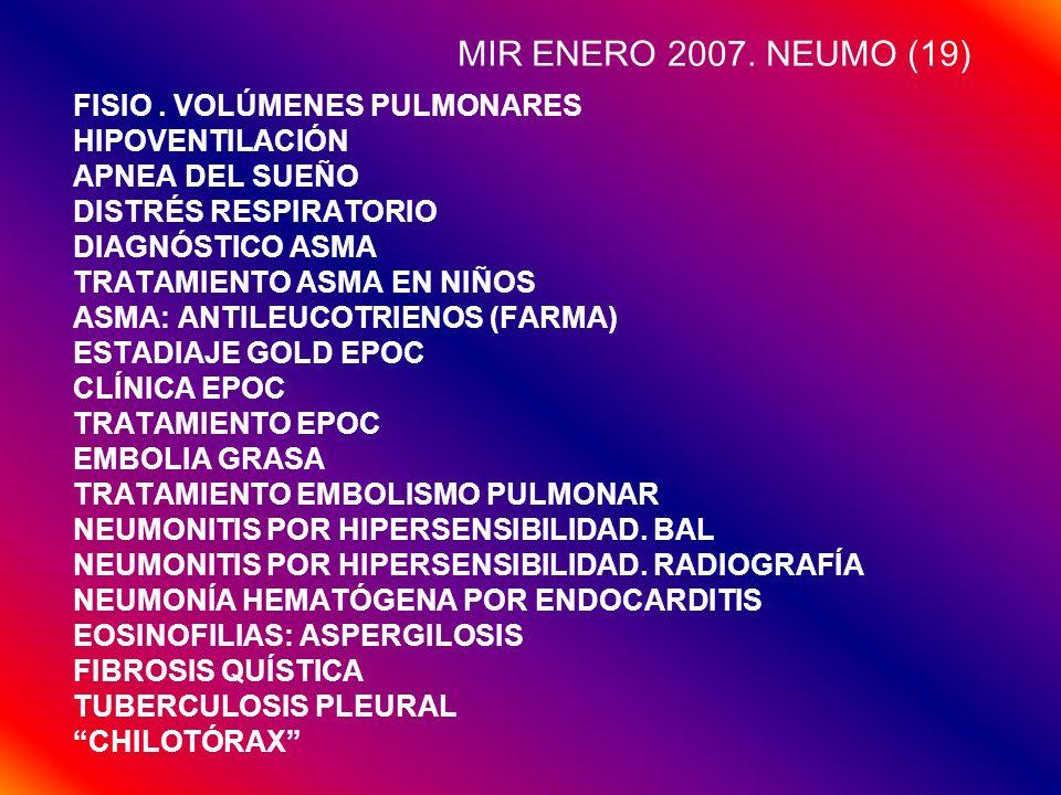 MIR ENERO 2007. NEUMO (19) FISIO. VOLÚMENES PULMONARES HIPOVENTILACIÓN APNEA DEL SUEÑO DISTRÉS RESPIRATORIO DIAGNÓSTICO ASMA TRATAMIENTO ASMA EN NIÑOS