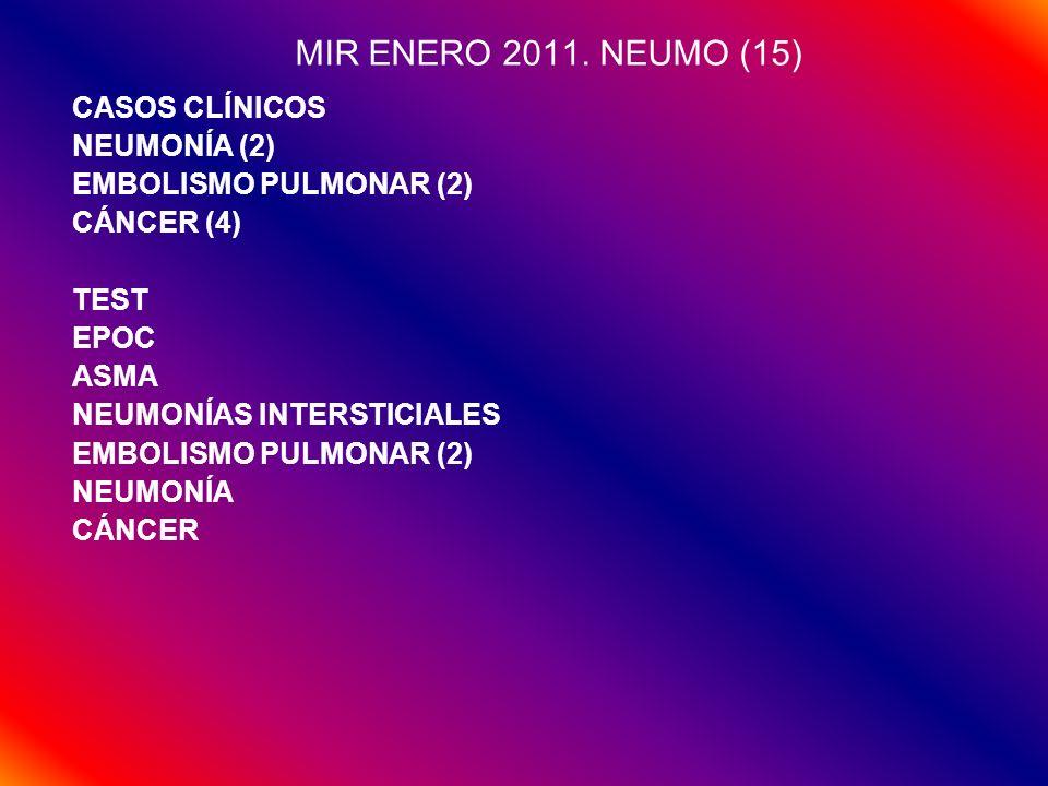 MIR ENERO 2011. NEUMO (15) CASOS CLÍNICOS NEUMONÍA (2) EMBOLISMO PULMONAR (2) CÁNCER (4) TEST EPOC ASMA NEUMONÍAS INTERSTICIALES EMBOLISMO PULMONAR (2