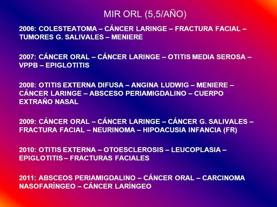 MIR ORL (5,5/AÑO) 2006: COLESTEATOMA – CÁNCER LARINGE – FRACTURA FACIAL – TUMORES G. SALIVALES – MENIERE 2007: CÁNCER ORAL – CÁNCER LARINGE – OTITIS M